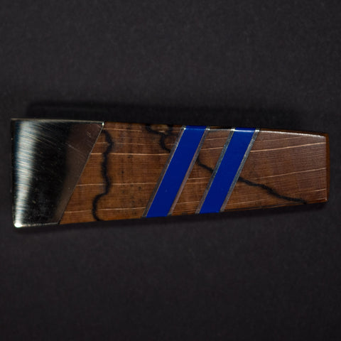 Santa Fe Stoneworks Spalted Beech Money Clip Lapis Blue at The Lodge Man Shop