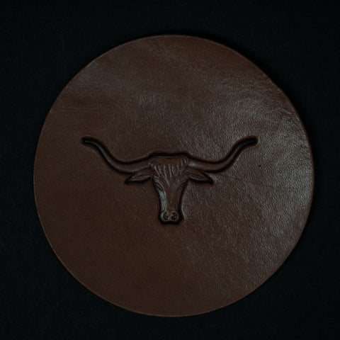 TOOLED LEATHER COASTERS STEER- SET OF 4 - THE LODGE  - 1