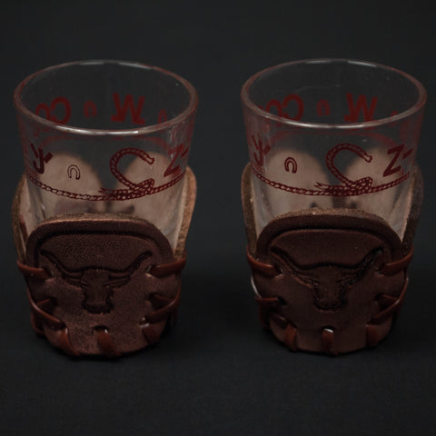 STEER LEATHER SHOT GLASSES- SET OF 2 - THE LODGE  - 1