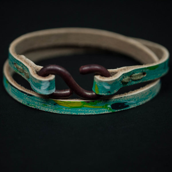 THE CHOPPER PAINT SPLATTERED TURQOISE LEATHER BRACELET - THE LODGE  - 1
