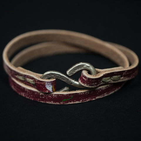 THE CHOPPER PAINT SPLATTERED RED LEATHER BRACELET - THE LODGE  - 1