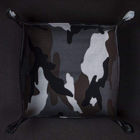 The Lodge Black Leather Valet Tray with Black Camouflage Lining
