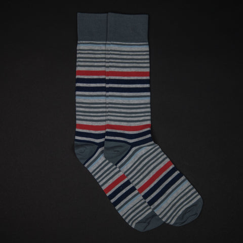 The Lodge Bucks Stripe Grey Men's Socks