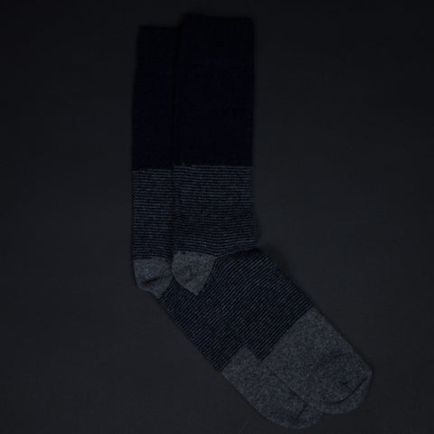 The Lodge Barclay Navy Stripe Cashmere Socks