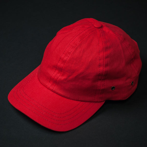 The Lodge Red Linen Baseball Hat