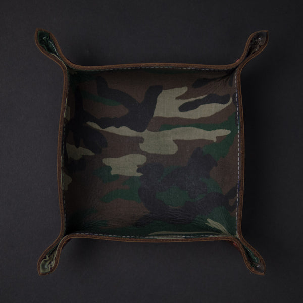 The Lodge Brown Leather Valet Tray with Camo