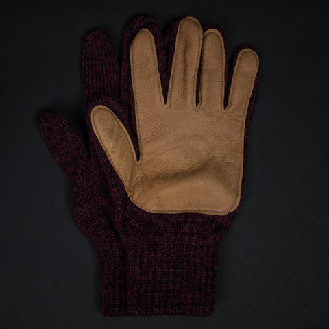 The Lodge Red Cold Spring Wool Gloves with Tan Deerskin