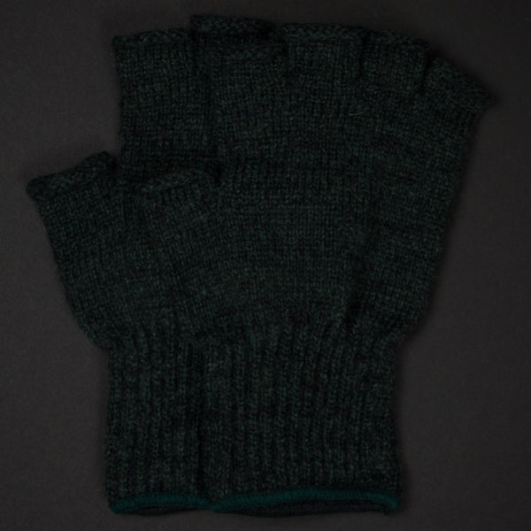 ATHENS HUNTER GREEN WOOL FINGERLESS GLOVES