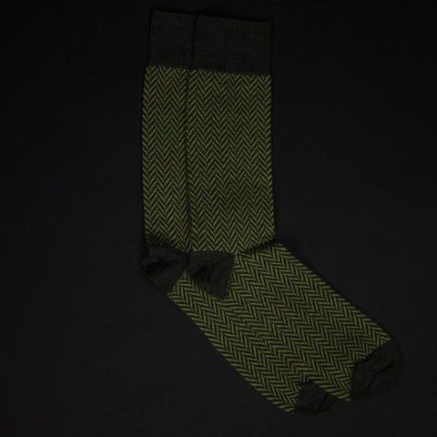 The Lodge Moss Flatiron Merino Herringbone Wool Socks