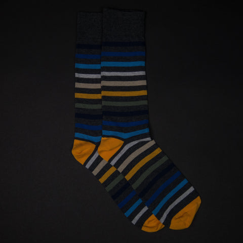 EASTON STRIPE CHARCOAL COTTON SOCKS