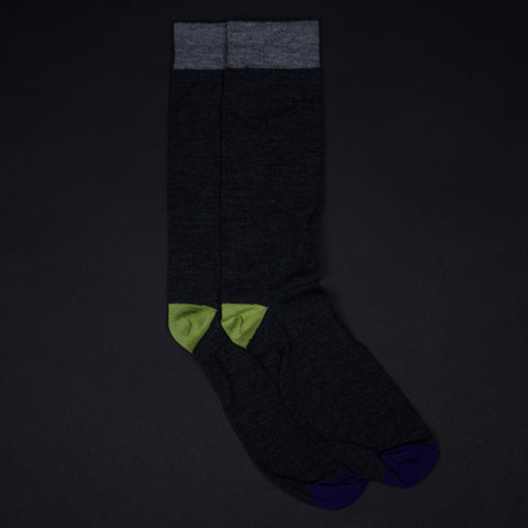 CHARCOAL MULBERRY EXTRA FINE MERINO WOOL SOCKS