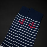 NAVY MONTAUK COTTON ANCHOR STRIPE SOCKS