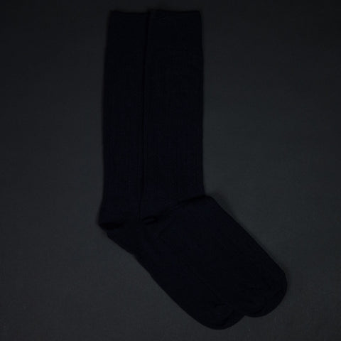 The Lodge Navy Softest Cashmere Rib Socks