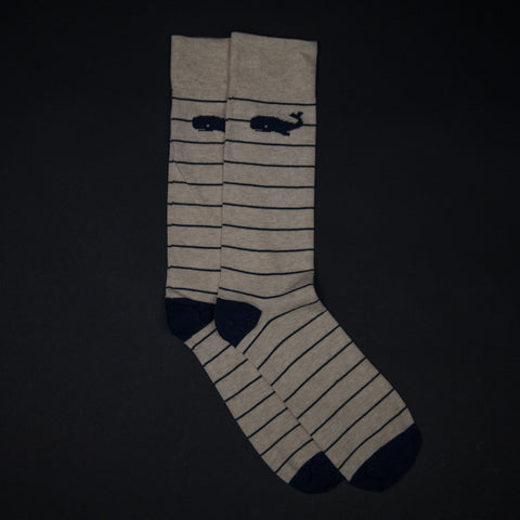 The Lodge Beluga Oatmeal Stripe Cotton Socks
