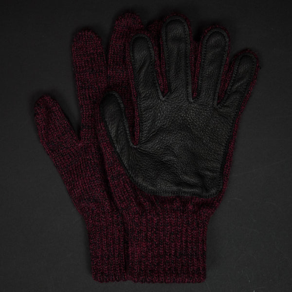 The Lodge Red Cold Spring Wool Gloves with Black Deerskin