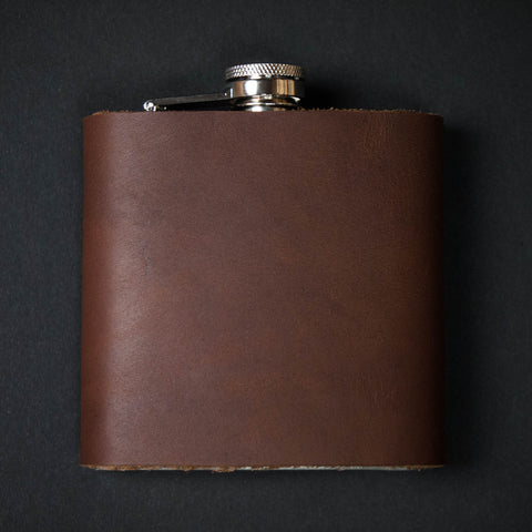 The Lodge Tan Leather Wrapped Hip Flask
