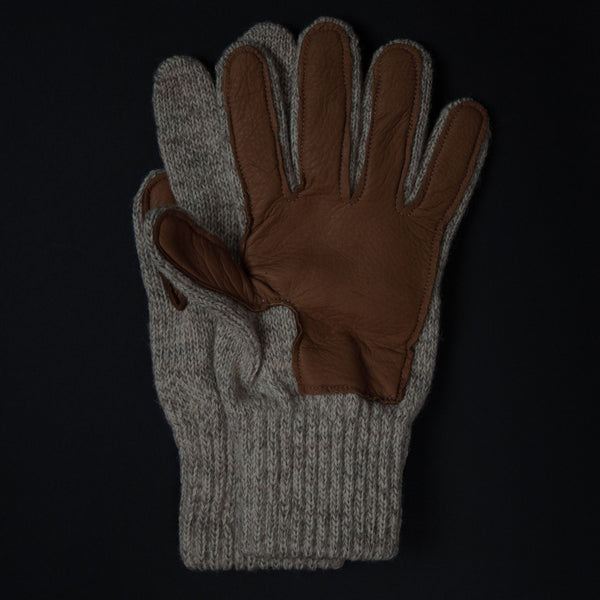 The Lodge Cold Spring Wool Gloves Oatmeal w/Deerskin Palm