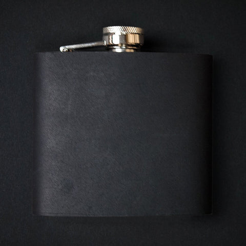 BLACK LEATHER-WRAPPED BARDSTOWN STAINLESS STEEL FLASK 6 OZ.