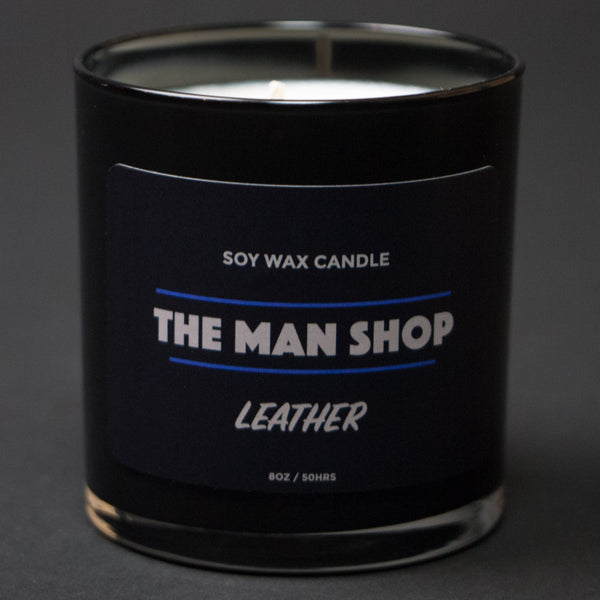 The Man Shop Leather Soy Wax Candle at The Lodge