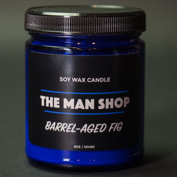 The Man Shop Barrel-Aged Fig Soy Wax Candle Cobalt at The Lodge