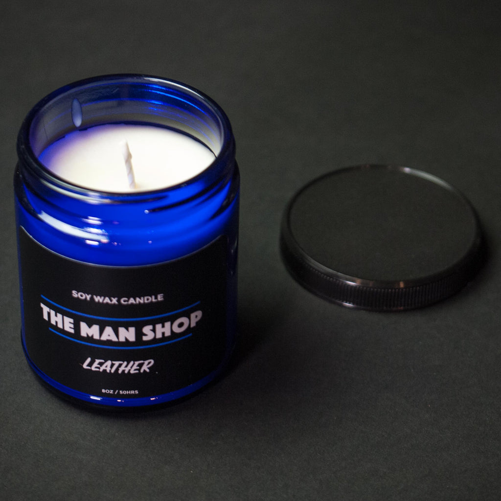COBALT LEATHER THE MAN SHOP SOY WAX CANDLE
