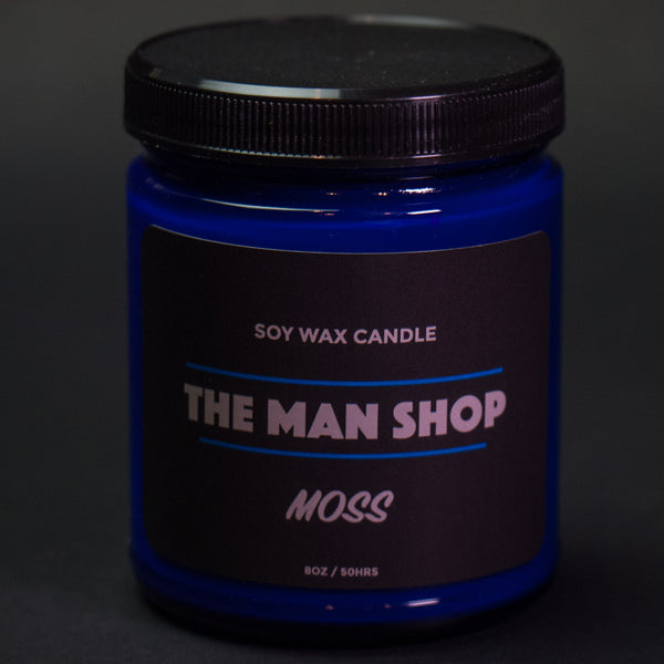 The Man Shop Moss Soy Wax Candle Cobalt Jar at The Lodge