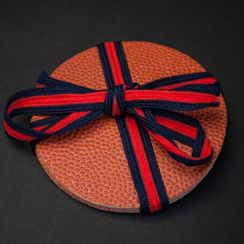 BANK SHOT BASKETBALL LEATHER COASTER SET OF 4