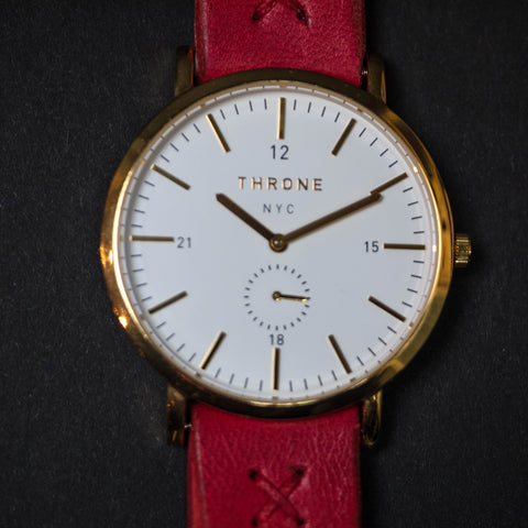 Throne 1.0 Men's Watch White/Gold with Red Leather Strap at The Lodge