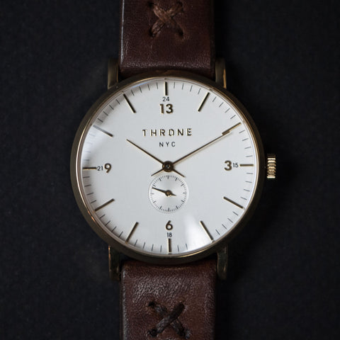 Throne 1.0 Watch 36mm White/Gold/Brown at The Lodge