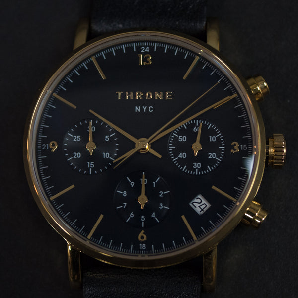 Throne 2.0 American Made Watch Black with Black Leather Strap