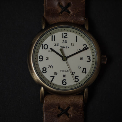 Throne Timex Indiglo White Watch with Natural Strap at The Lodge