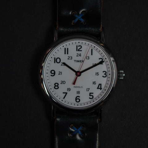 Throne Timex Indiglo Watch with Black Cordovan Strap