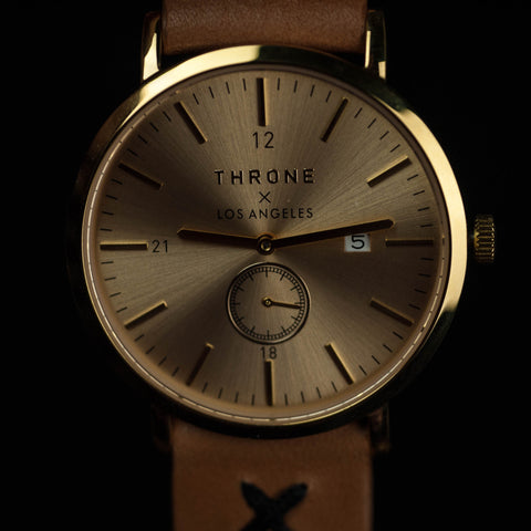Throne 1.5 Los Angeles Gold Watch with Natural Leather Strap