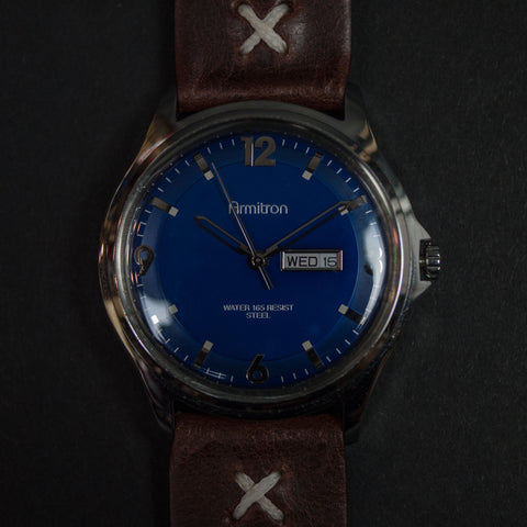 Throne Armitron Blue Watch with Classic Cognac Leather Strap at The Lodge