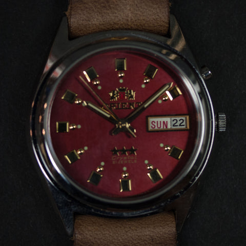 Throne Orient Watch Red w/Natural Horween Strap at The Lodge