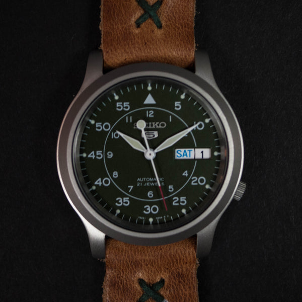 Throne Seiko Watch Green with Natural Horween Leather strap at The Lodge