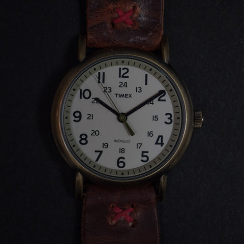 Throne Timex Indiglo White Watch with Distressed Brown Leather Strap at The Lodge