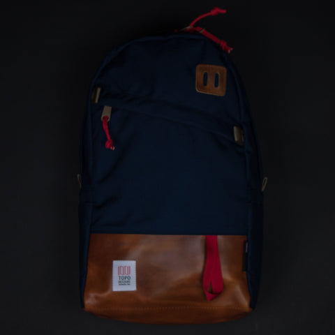 Topo Designs Navy Daypack with Tan Leather at The Lodge