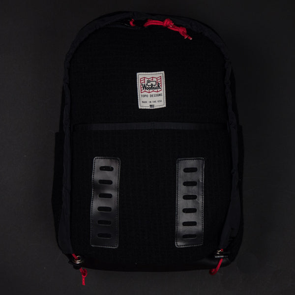 Topo Designs x Woolrich Span Daypack Black Waffle Wool at The Lodge