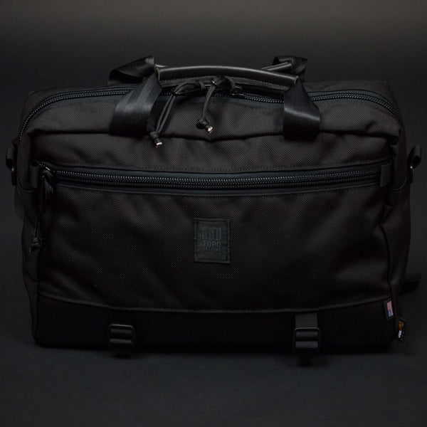 TOPO BLACK COMMUTER BRIEFCASE W/ BLACK LEATHER - THE LODGE  - 1