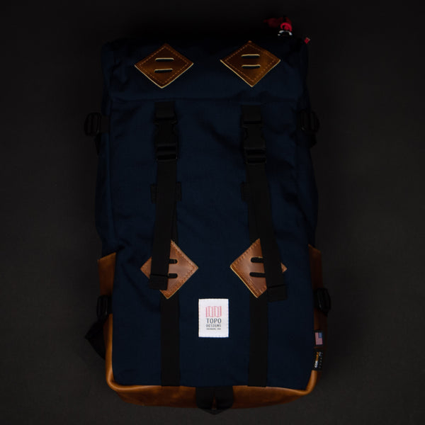 Topo Designs Navy Klettersack with Tan Leather at The Lodge