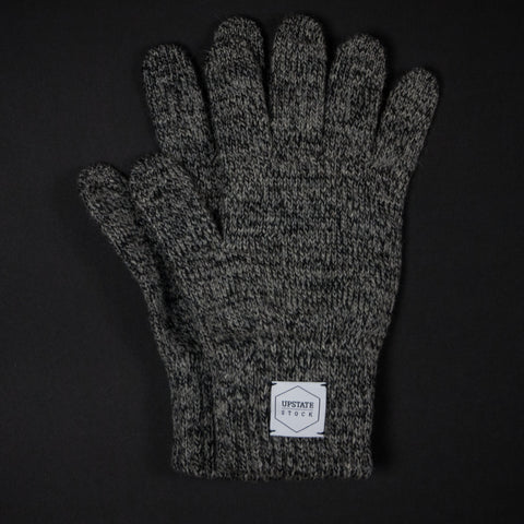 UPSTATE STOCK CHARCOAL WOOL GLOVES - THE LODGE  - 1