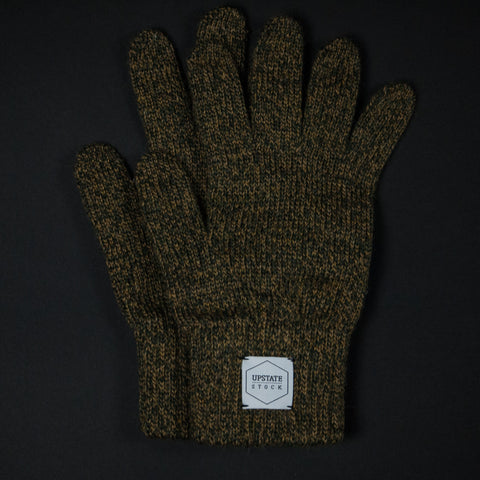 UPSTATE STOCK OLIVE MELANGE WOOL GLOVES - THE LODGE  - 1