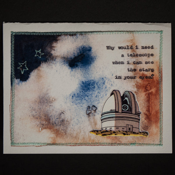 TELESCOPE HAND-STITCHED VALENTINE'S DAY CARD - THE LODGE  - 1