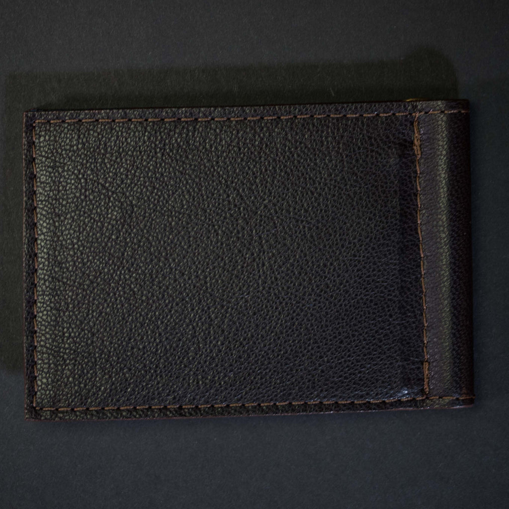 CHOCOLATE WABASH MONEY CLIP LEATHER WALLET