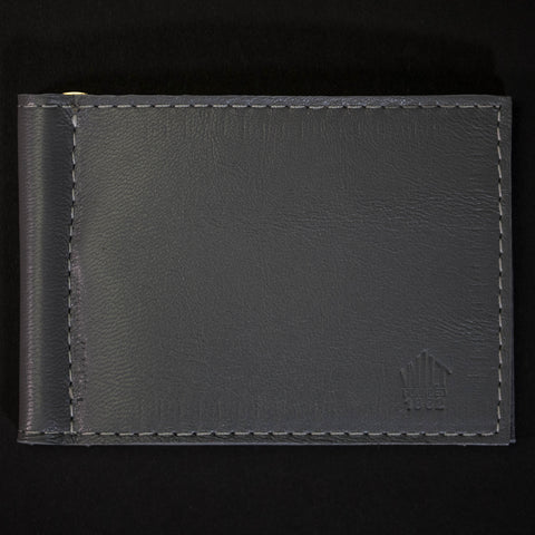 GREY WABASH MONEY CLIP LEATHER WALLET
