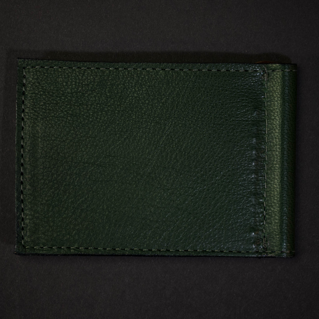 HUNTER GREEN WABASH MONEY CLIP LEATHER WALLET