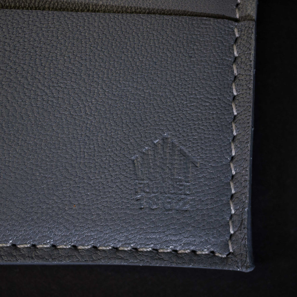 GREY DAVIS SLIM CARD LEATHER WALLET