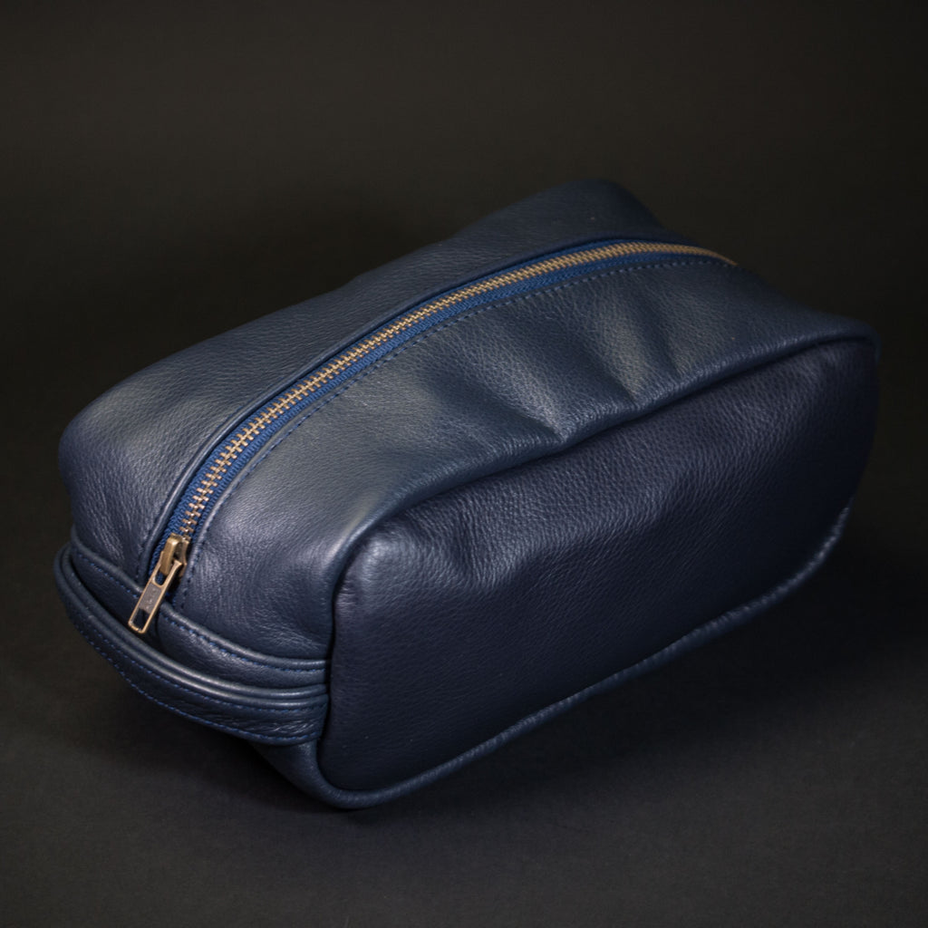 Wilt 1862 Peary Leather Dopp Kit Navy at The Lodge
