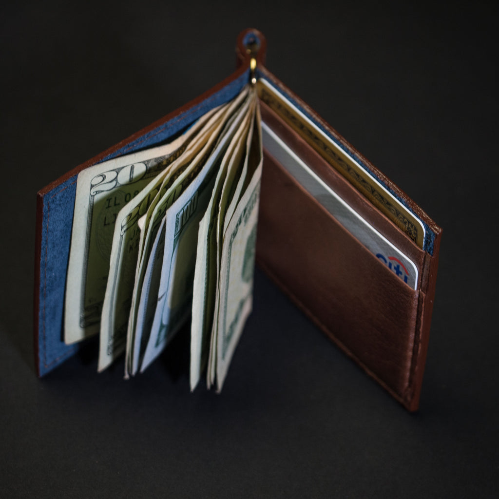 BOURBON WABASH MONEY CLIP LEATHER WALLET